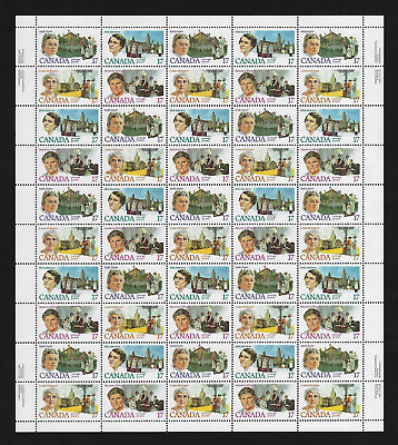 Canada Stamps — Full Pane of 50 — Canadian Feminists — #879-82 (& 879i) — MNH
