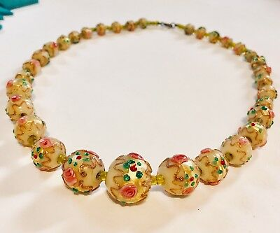 Vintage antique Italian Venetian glass beads necklace roses wedding cake deco