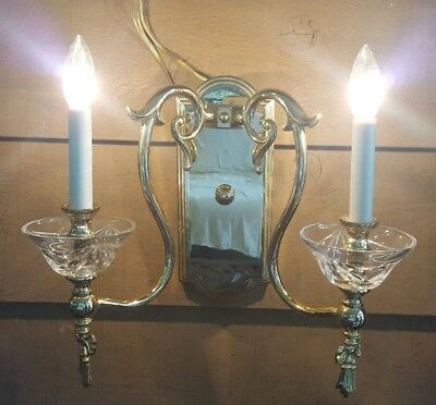 Polished Brass Sconce vintage crystal cups MADE IN ITALY
