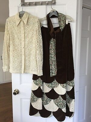 Vtg CHESSA DAVIS Holiday Velvet & Lace Maxi Skirt with sash and matching Blouse