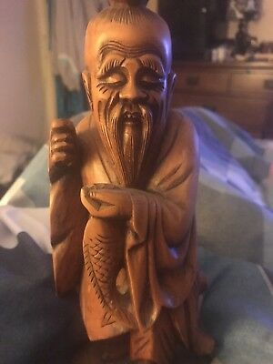 """Vintage Asian Carved  Wooden Fisherman Figurine 11"""" tall"""