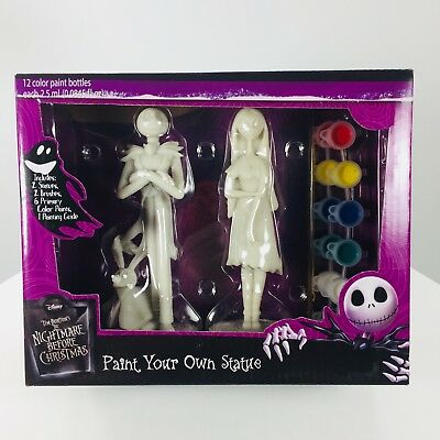 Disney Nightmare Before Christmas Paint Your Own Statue Jack w/Zero & Sally NEW