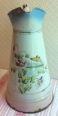 Antique Vintage French Enamel Pitcher Hand-painted Large Blue Pink