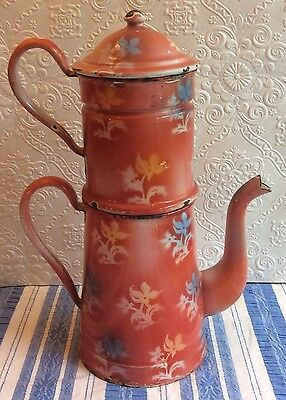 Antique Vintage French Enamel Graniteware Biggin Coffee Pot Set Red