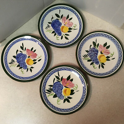 """4 Stangl Fruit and Flowers Bread & Butter Plates 6.25"""" Hand Painted USA"""