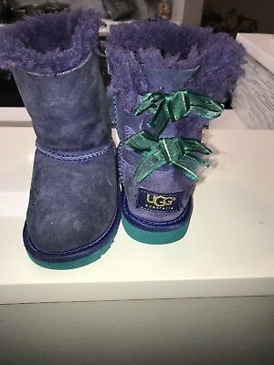 4da066328a1 UGGS TODDLER 7 Bailey Bow Purple And Teal
