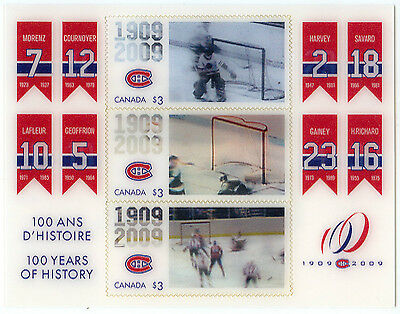 2009 Canada Post Montreal Canadiens 100Th Centennial 100 Years Of History Stamps