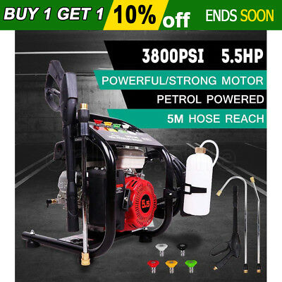 5.5HP 3800 PSI High Pressure Washer Petrol Water Cleaner Gasoline 10m Hose New
