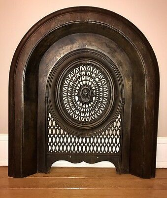 Victorian Cast Iron Arched Fireplace Frame w/ Cover, Beautiful Decorative Piece!