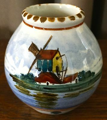 Vintage 1953 Gouda Royal Miniature Vase - Zuid Holland - Windmill/ Boat Scene
