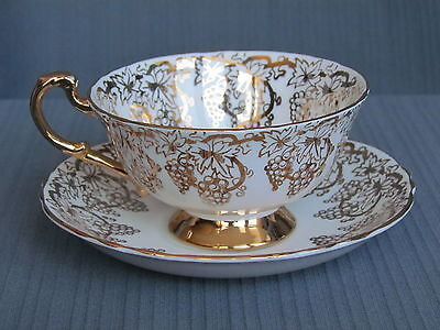 Royal Standard Cup Saucer Fine Bone China Gold Gilt Grapevine,  Numbered  Englan