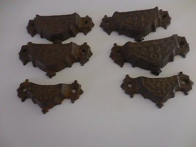 antique set of 6 Eastlake cast iron drawer pulls