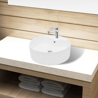 Ceramic Bathroom Sink Basin Faucet/Overflow Hole White Round Washroom Kitchen