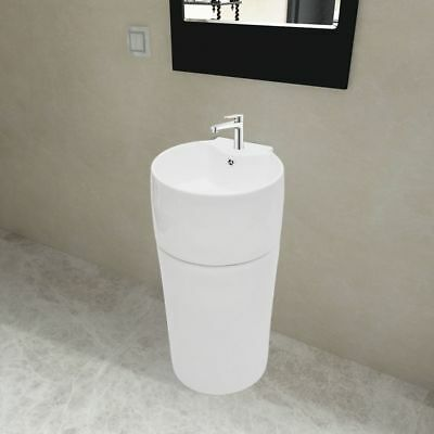 Ceramic Stand Bathroom Cloakroom Sink Basin Faucet/Overflow Hole White Round