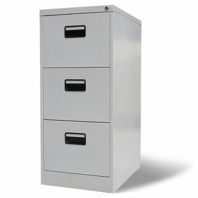 vidaXL File Cabinet with 3 Drawers Grey Metal Office Storage Unit Organiser
