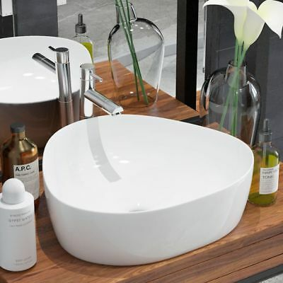 vidaXL Bathroom Cloakroom Countertop Washing Basin Sink Triangle Ceramic White