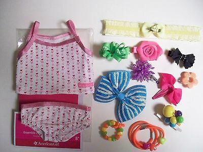 American Girl Tank Top/ Briefs Plus Fun Hair Bow Accessories For Dolls / Girls