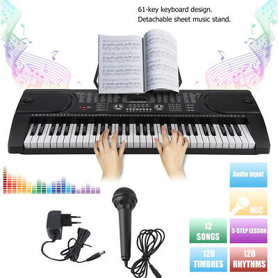 Digital 61-Tasten Keyboard E-Piano Klavier Led Display Lern Funktion 128 Sounds!