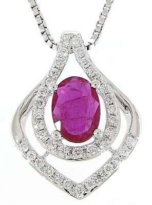 EJTP1035-1 Solid 18K White Gold 0.61CT Real Natural Ruby Diamond Pendant Jewelry