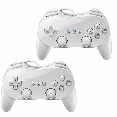 2x CLASSIC PRO Wii CONTROLLER PRO JOYPAD for NINTENDO REMOTE white