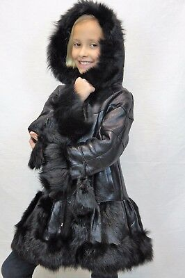 Black 100% Genuine Sheepskin Shearling Leather Girls Kids Children Coat Jacket