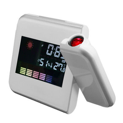 3.7'' Digital LCD Time Projection Projector LED Alarm Clock Weather Temp Wh B2V4