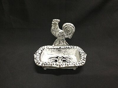Antiqued White Cast Iron Rooster Soap Dish