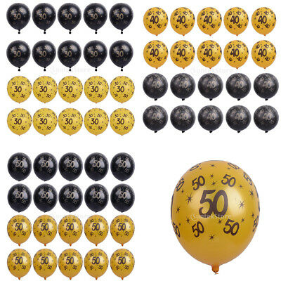 20x Gold&Black Latex Balloons 30th 40th 50th Birthday Anniversary Party Supplies