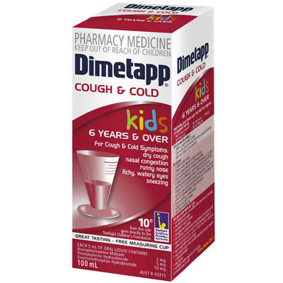 Dimetapp Kids Cold & Cough Elixir 100ml Dry Couhg Runny Nose Nasal Congestion