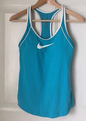 Womens Nike Dri Fit Racer Back Built in Bra  Work Out Tank Top Blue Size Small