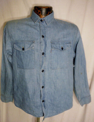 """LEVIS Faded Blue Vintage Denim Button Shirt Womens Large Red Tab Chest 38"""""""