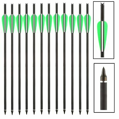 "12pcs Carbon Arrows 16""/20"" Crossbow Bolts for Crossbow Archery Green/White"