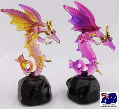 Handcrafted Mythical Glass Dragons on Stone  - Gold Plated - 2pc