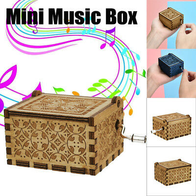 Funny Mini Music Box Engraved Wooden Music Box Interesting Kids Toys Xmas Gifts