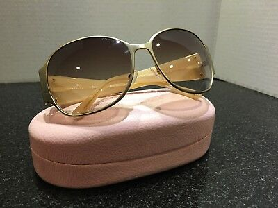 AUTHENTIC JUICY COUTURE $250 OVERSIZE GOLD BEIGE SUNGLASSES MINT Made in Italy