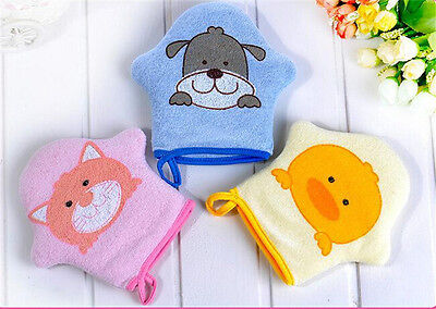 Cute Cartoon Baby Bath Gloves Rubbing Sponge Soft Cotton Towel Ball Pop LD