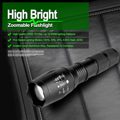 8000LM Light CREE T6 LED Flashlight Zoomable Waterproof Torch Hunt Light Charger