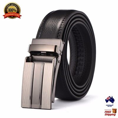 XHTang Men's Black Automatic Buckle Belt Genuine Leather Waistband Jeans Gift