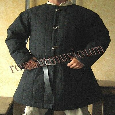 Jacket Armor reenactment SCA Medieval thick padded Black Gambeson coat Aketon
