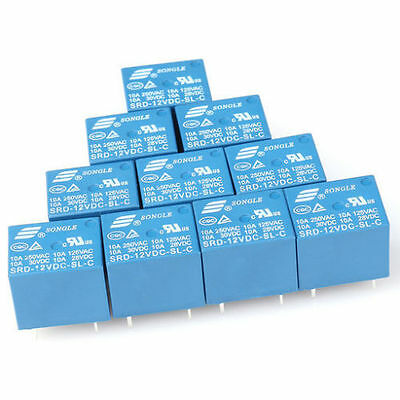 12V DC 10PCS  5Pins RELAY  Coil Power Relay PCB SRD-12VDC-SL-C 2J2 FT
