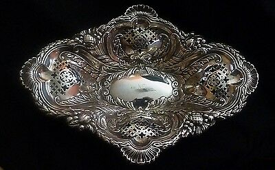 Large English Sterling Silver Dish Hallmarked 1904 by I S Greenberg Birmingham
