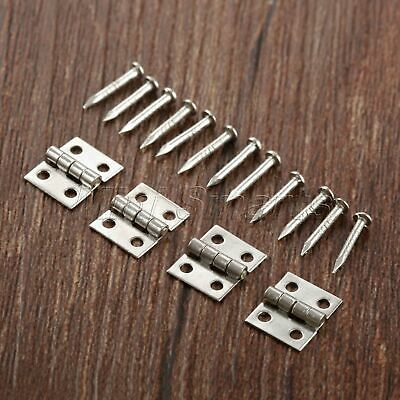 Small Silver Color Hinges Jewelry Box Dollhouse Cabinet Door Hinges 8*10mm 50pcs