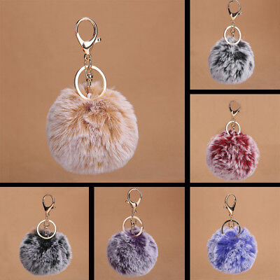 Rabbit Fur Fluffy  Ball Handbag Car Pendant Pompom Charm Key Chain Keyrings 8CM