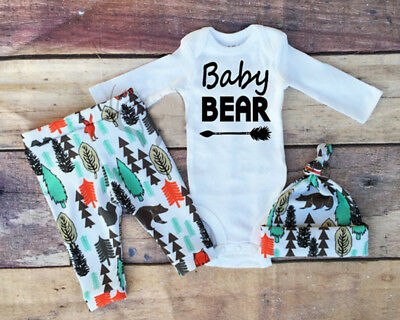 AU Newborn Baby Boy Girl Clothes Jumpsuit Romper Bodysuit +Pants +Hat Outfit Set