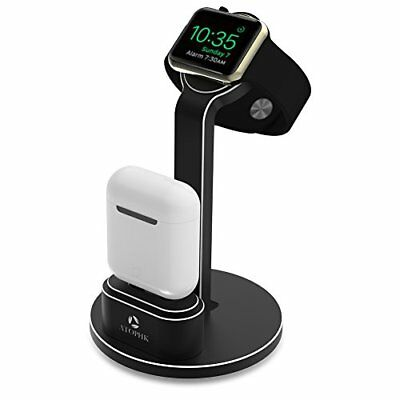 2 in 1 Premium Aluminum Charging Dock Stand for Apple iWatch & Airpods Black