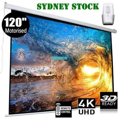 120 Inch Projector Screen Home Theatre HD TV Electric Motorised Projection 3D RR