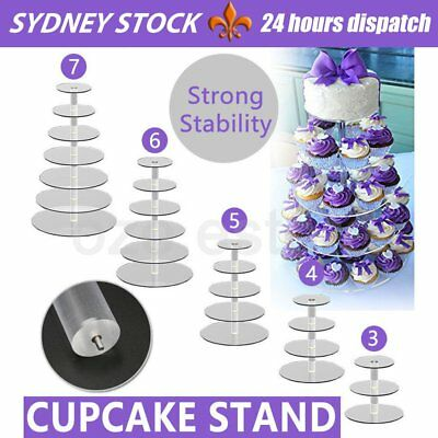 3/4/5/6/7/Tier Clear Acrylic Round Cake Cupcake Stand Party Birthday Wedding RR