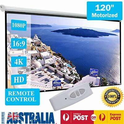 """120"""" Electric Motorised Projector Screen Mount Home Theatre Projection 16:9 Pure"""