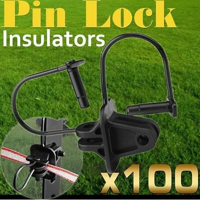 100 Pinlock Insulator Electric Fence Energiser Steel Post Pin Lock Polytape RL