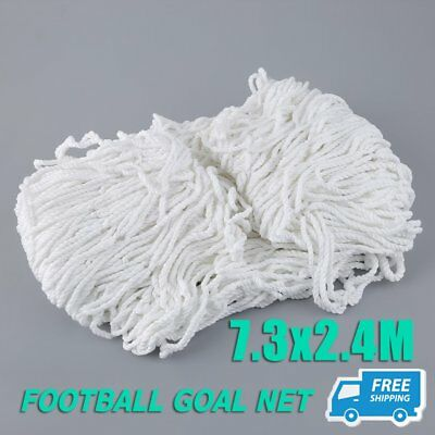1 Piece Football Net Full Size 24 x 8ft 7.3x2.4m Match Soccer Goal training ON